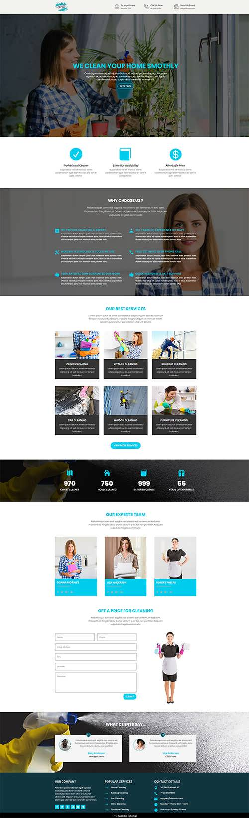 Free Divi Cleaning Services Layout