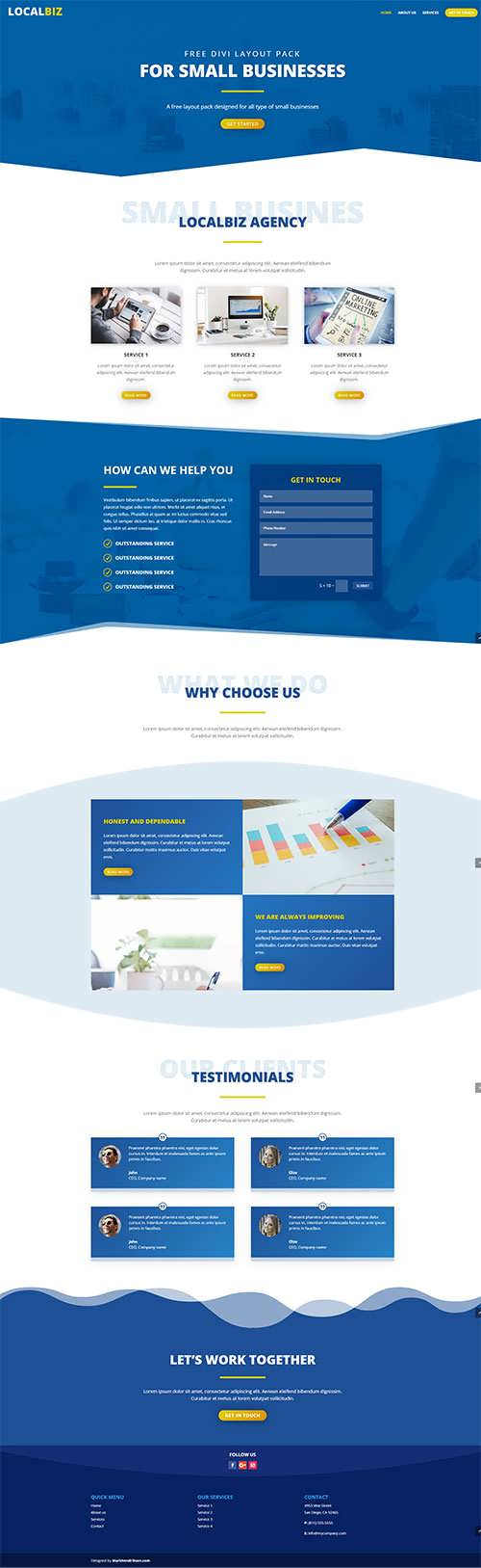 Free Divi Small Business Layout