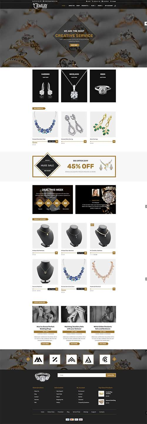 Jewelry Woocommerce divi child theme