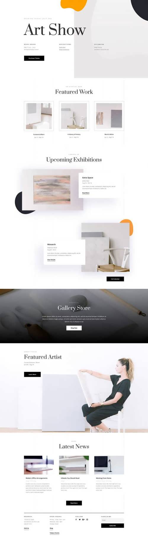 art gallery landing page