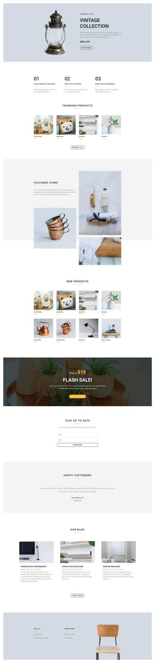boutique landing page