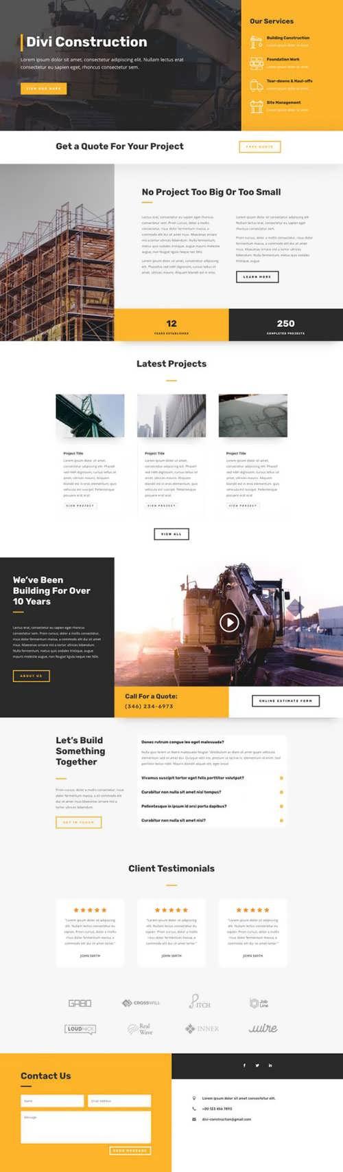 construction company landing page