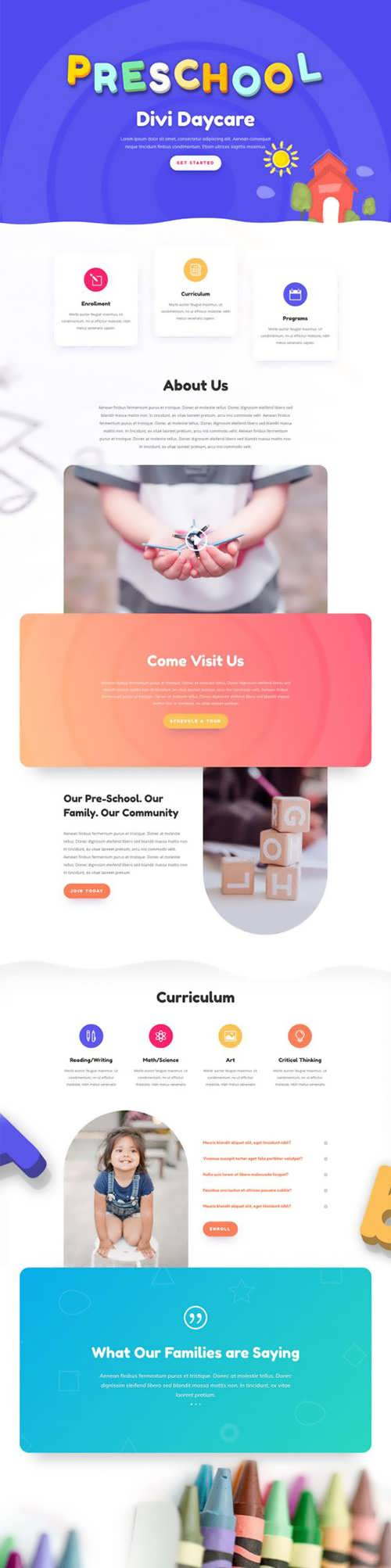 daycare landing page