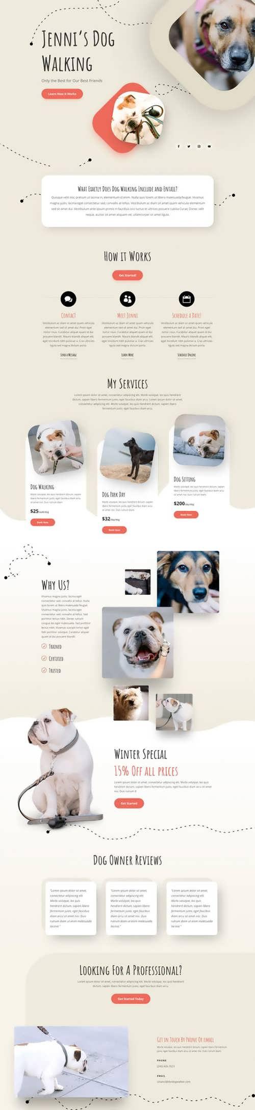 dog walker landing page