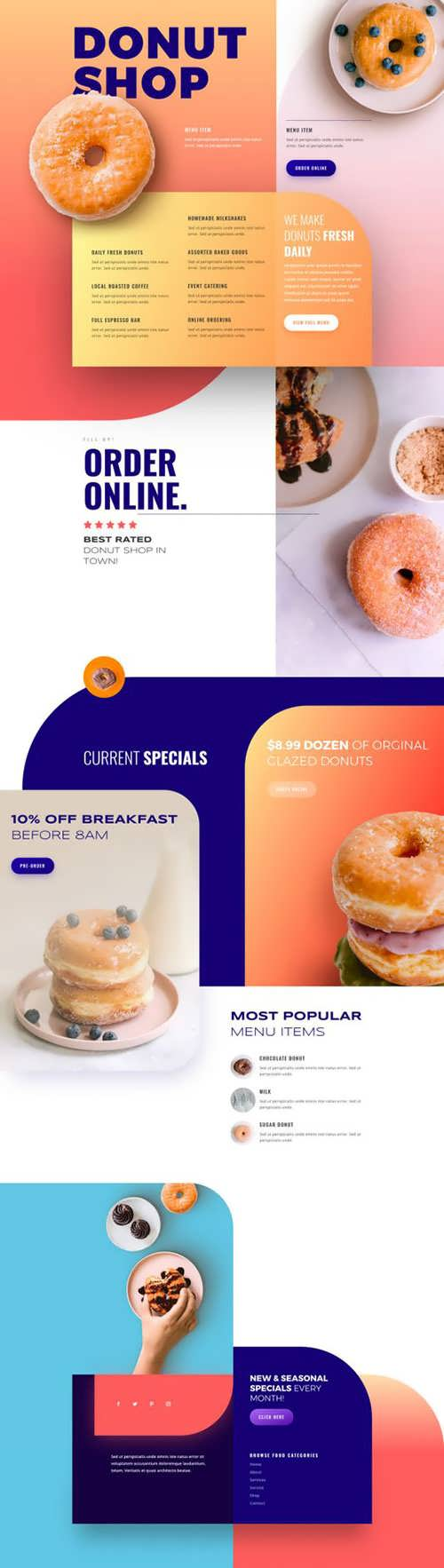 donut shop landing page