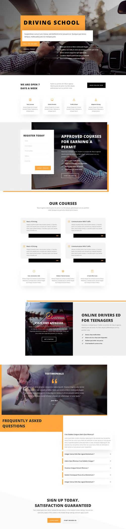 driving school landing page