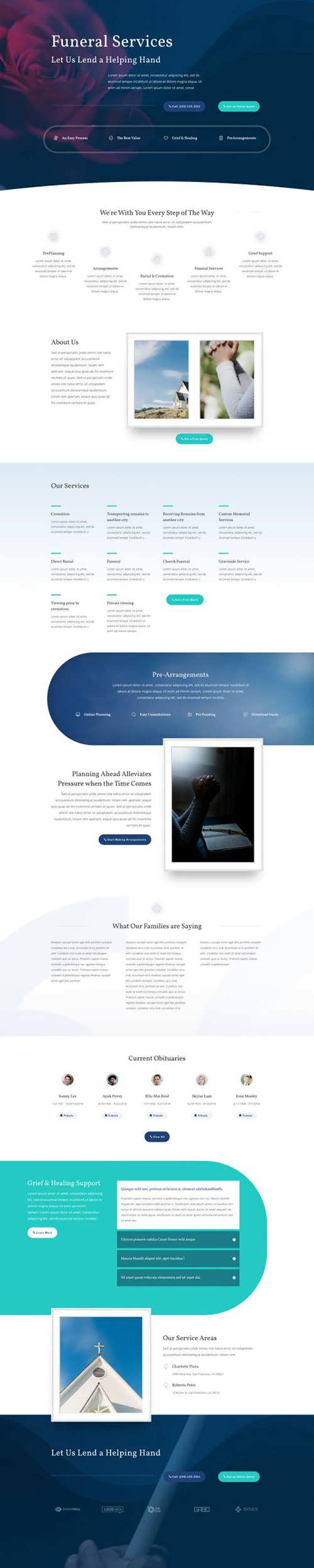 funeral home landing page