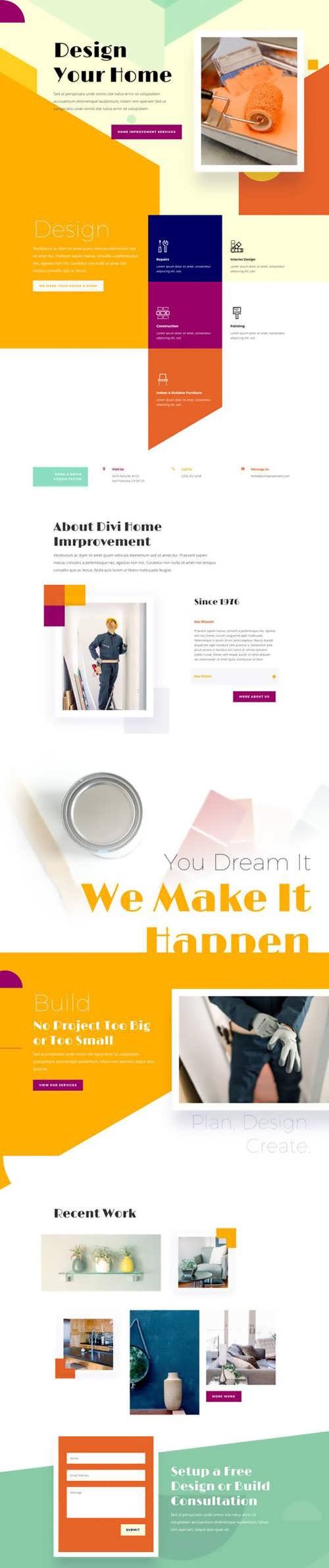 home improvement landing page