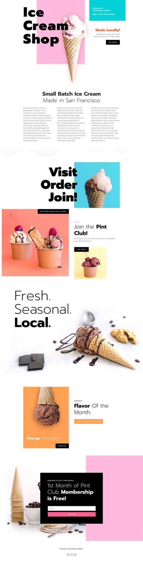 ice cream shop landing page