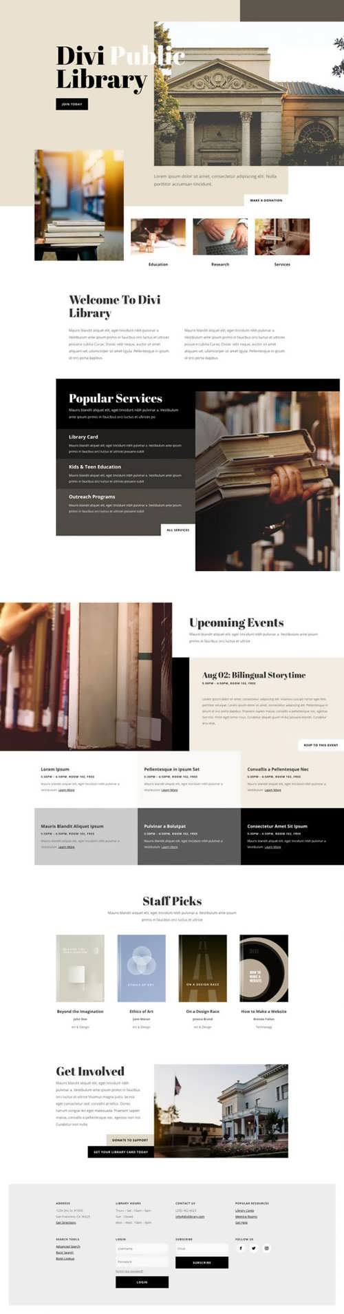 library landing page