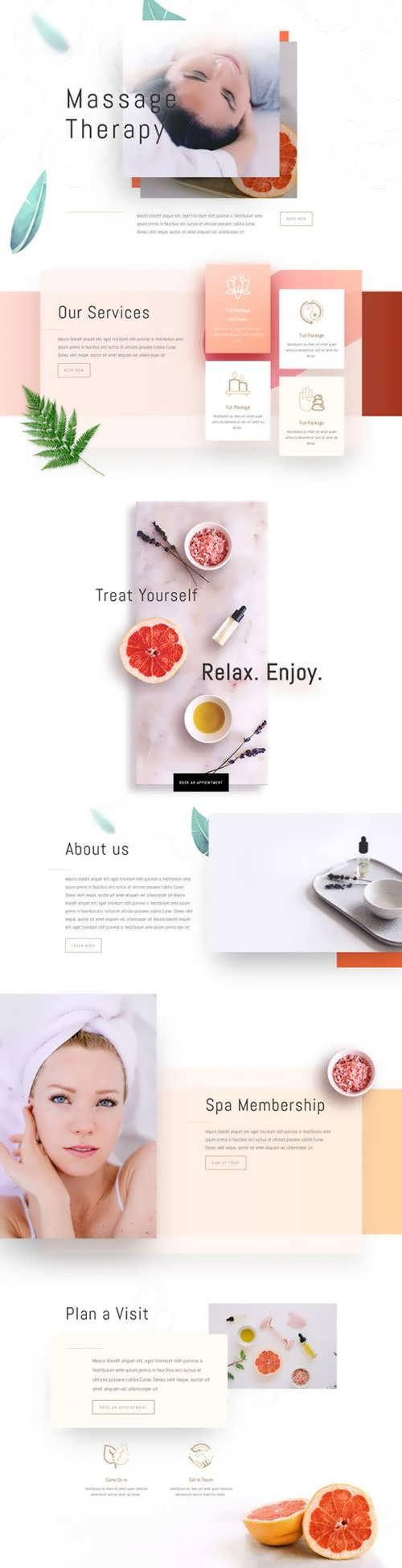 massage therapy landing page