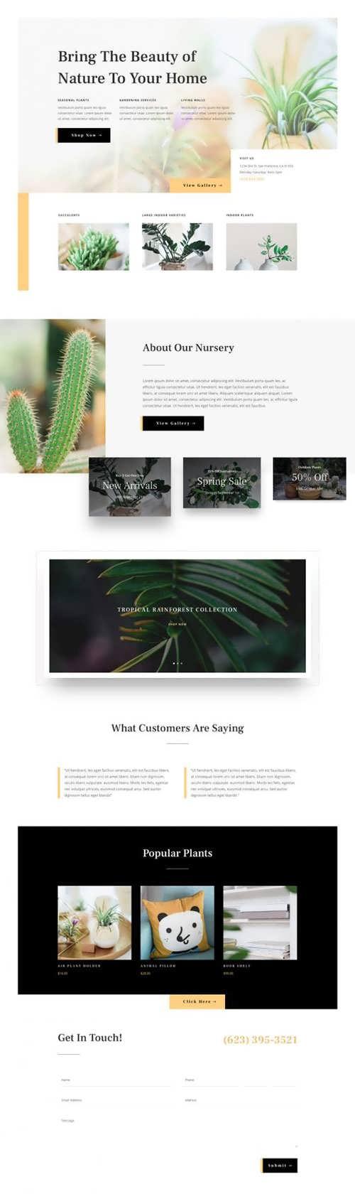 plant nursery landing page