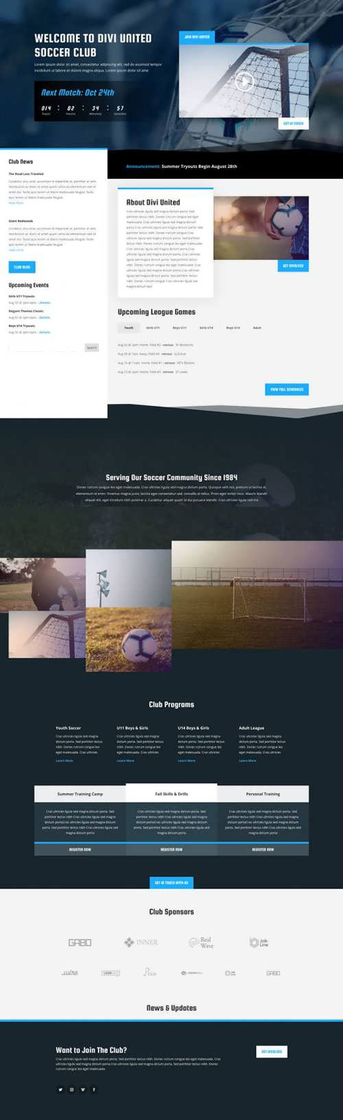 soccer club landing page