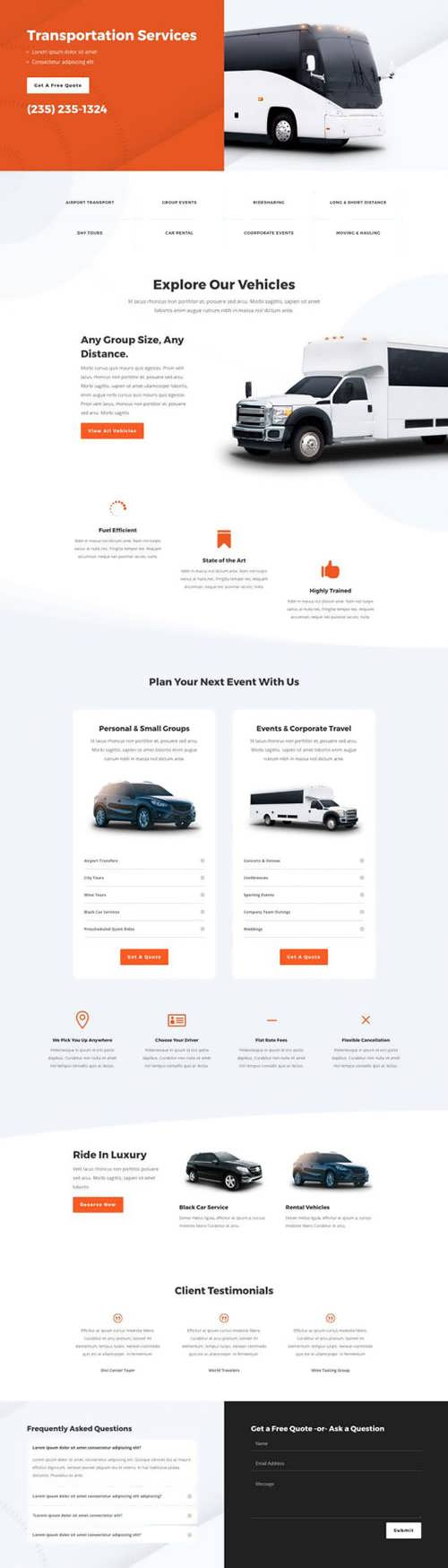transportation services landing page