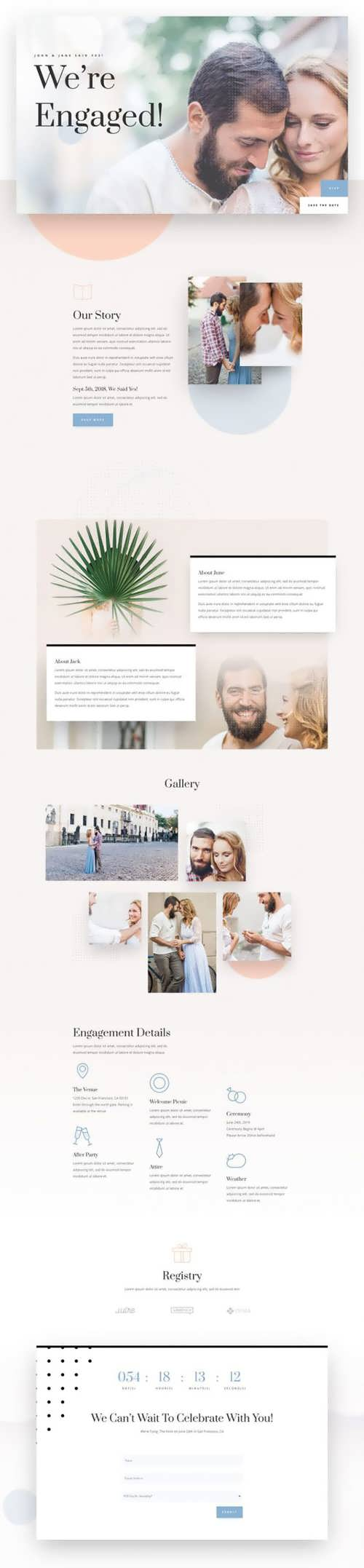 wedding engagement landing page