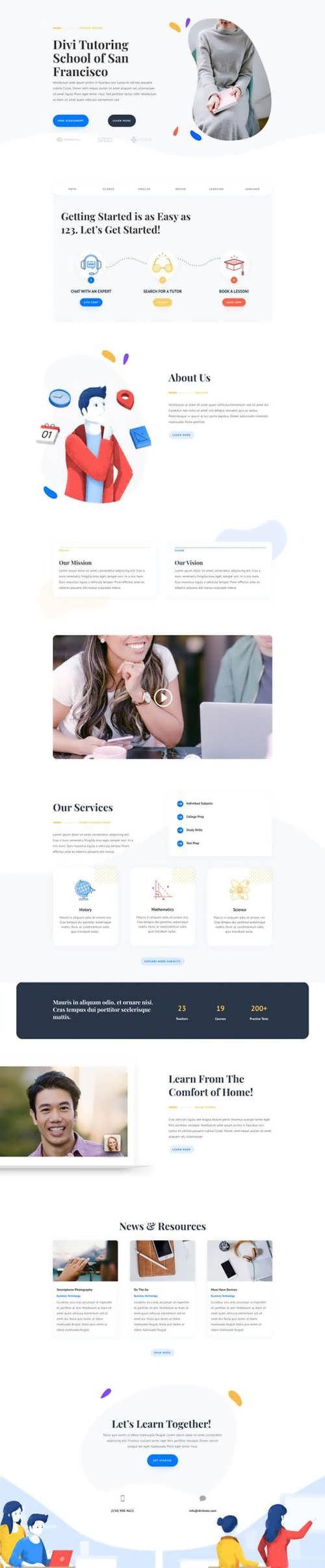 tutor landing page